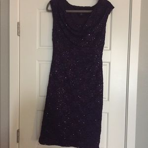 Purple sequined pullover dress size 8